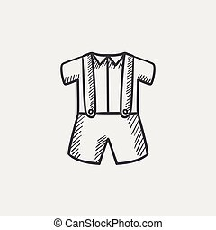 Baby shirt and shorts with suspenders sketch icon. - Baby...