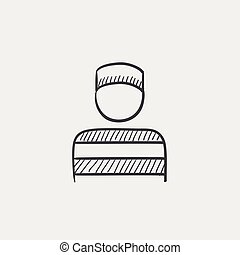 Prisoner sketch icon - Prisoner sketch icon for web, mobile...
