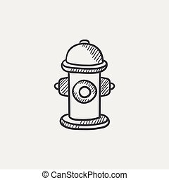 Fire hydrant sketch icon - Fire hydrant sketch icon for web,...