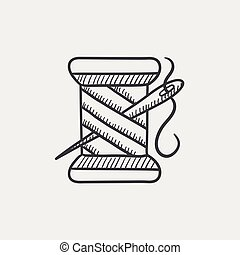 Spool of thread and needle sketch icon - Spool of thread and...