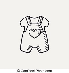 Baby overalls and shirt sketch icon - Baby overalls and...