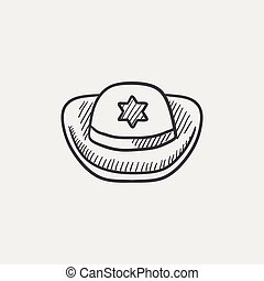 Sheriff hat sketch icon - Sheriff hat sketch icon for web,...