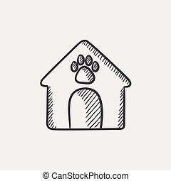 Doghouse sketch icon. - Doghouse sketch icon set for web,...