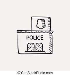 Police station sketch icon. - Police station sketch icon for...
