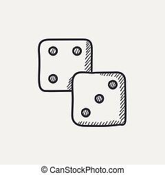 Dice sketch icon.