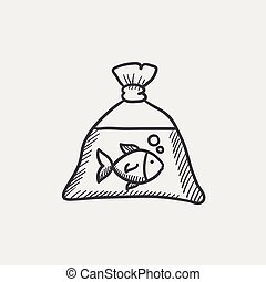 Fish in plastic bag sketch icon - Fish in plastic bag sketch...