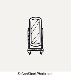 Swivel mirror on stand sketch icon. - Swivel mirror on stand...