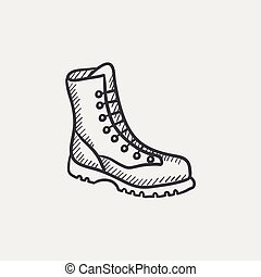 Boot with laces sketch icon - Boot with laces sketch icon...