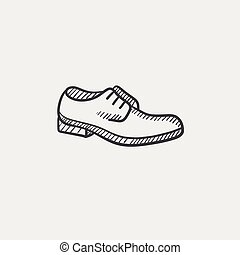 Shoe with shoelaces sketch icon - Shoe with shoelaces sketch...