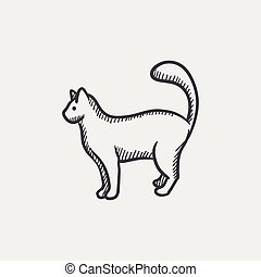 Cat sketch icon - Cat sketch icon set for web, mobile and...