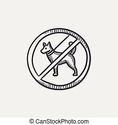 No dog sign sketch icon - No dog sign sketch icon set for...