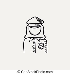 Policewoman sketch icon - Policewoman sketch icon for web,...