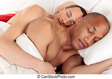 Mixed ethnicity gay couple - Attractive young mixed...