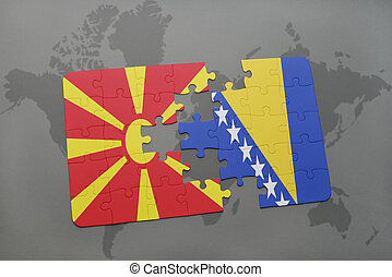 puzzle with the national flag of macedonia and bosnia and...