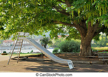 Nice public park with a slide - Public park with playground...
