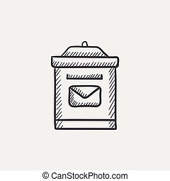 Mail box sketch icon.