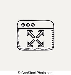 Full screen sketch icon. - Full screen sketch icon for web,...