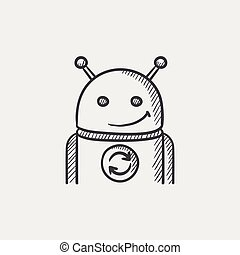 Android with refresh sign sketch icon. - Android with...