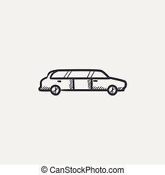 Wedding limousine sketch icon - Wedding limousine sketch...