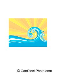WAVE  - Sunlit sea with a wave, summer color theme