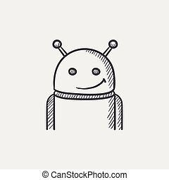 Android sketch icon. - Android sketch icon for web, mobile...