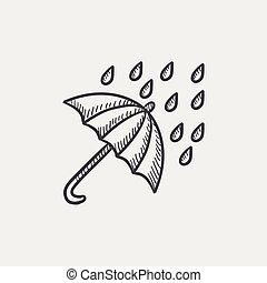 Rain and umbrella sketch icon. - Rain and umbrella sketch...