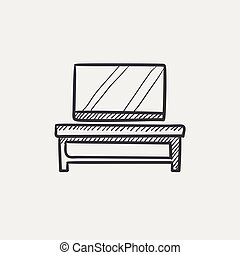 Flat screen tv on modern tv stand sketch icon.