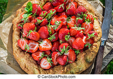 Tasty strawberry pie in garden