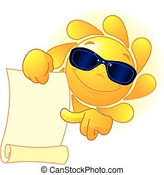 Sun shows a scroll - Cute Sun with sunglasses shows a scroll...