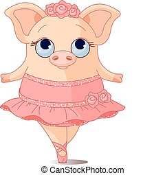 Pig Ballerina - Illustration of very cute piggy ballerina