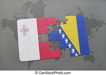 puzzle with the national flag of malta and bosnia and...