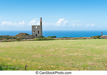 Higher Bal tin mine engine house remains - Remains of...