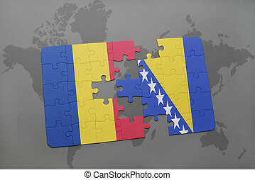 puzzle with the national flag of romania and bosnia and...