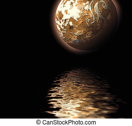 illustration planet water sea abstract background