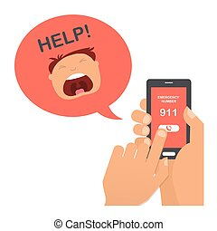 hand press emergency number 911 on a mobile phone with  man screaming for help.