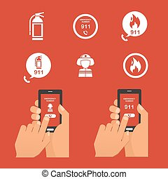 Emergency fire alert via telephone. Set of Icon - Emergency...