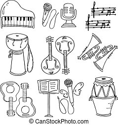 Hand draw element music doodles