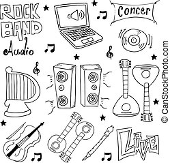 Doodle hand draw music element