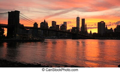 View on Manhattan, sunset - Sunset on the Brooklyn Bridge...
