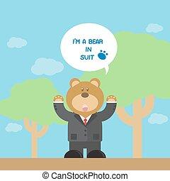 cute brown bear cartoon in suit