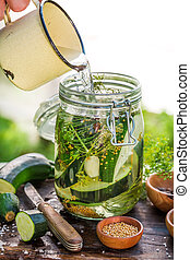 Natural pickled courgette in summer