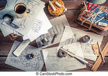 Vintage designer desk of mechanical parts