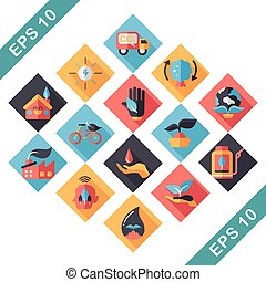 Ecology and environment icons set