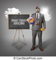 Make today amazing text with holiday gear businessman and...