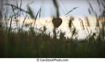(1196) Hot Air Balloon Over Grassy - Themes of summer,...