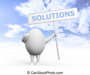 Egg Character Holidng Solutions Sign - 3D illustration of a...