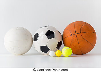 close up of different sports balls set - sport, fitness,...