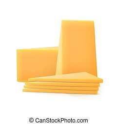 Triangular Sliced Pieces of Cheddar Cheese Isolated on White Background