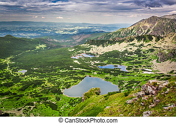 View of mountain lake from the top in summer