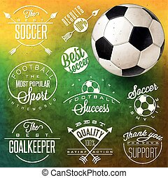 Soccer - Retro vintage style soccer emblem collection. Set...
